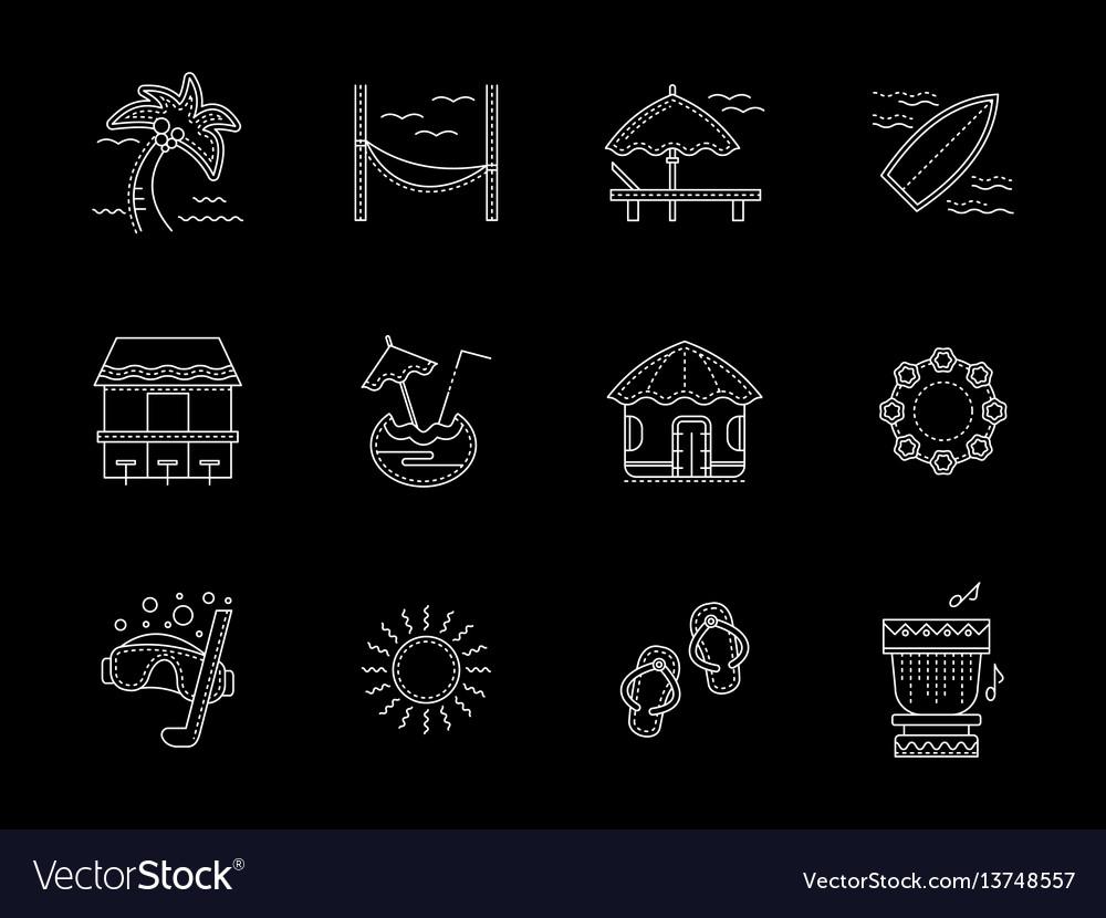 Hawaiian flat white line icons set vector image