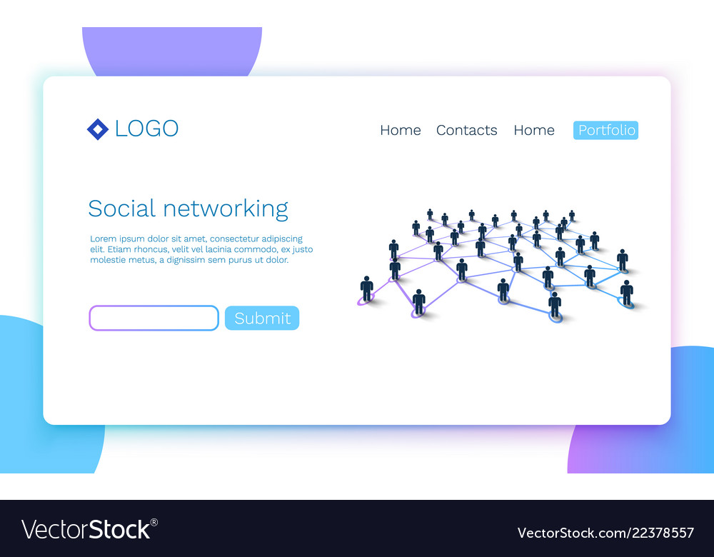 Web page social media or network concept landing