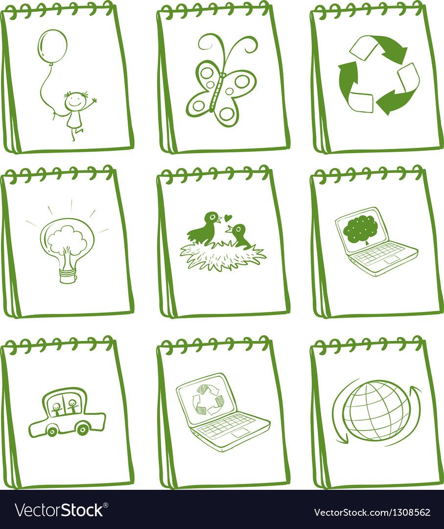 A set of green notebooks