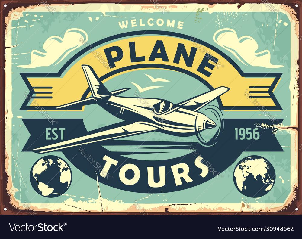 Air transport vintage metal sign