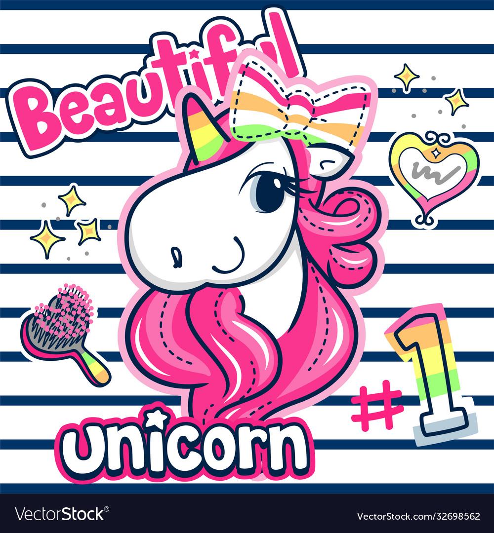 Beautiful unicorn girl with pink hair