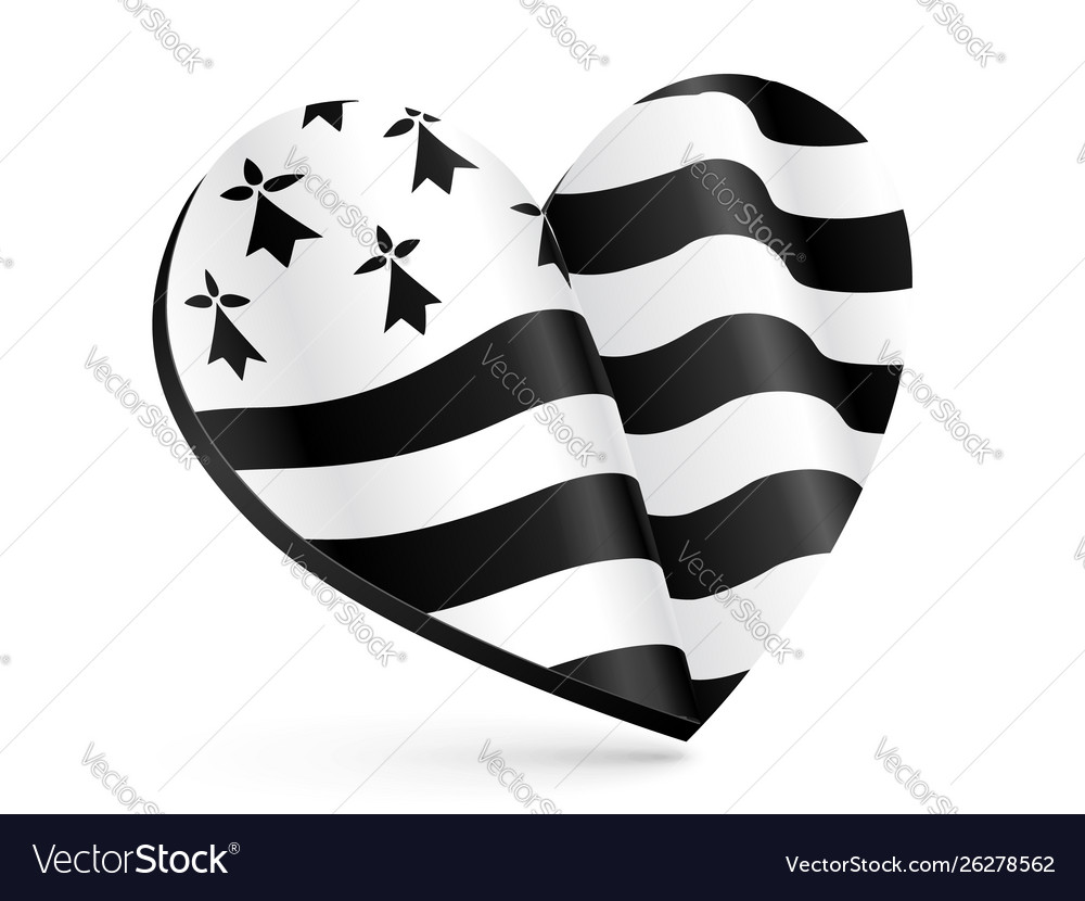 Black and white 3d heart shape with flag of