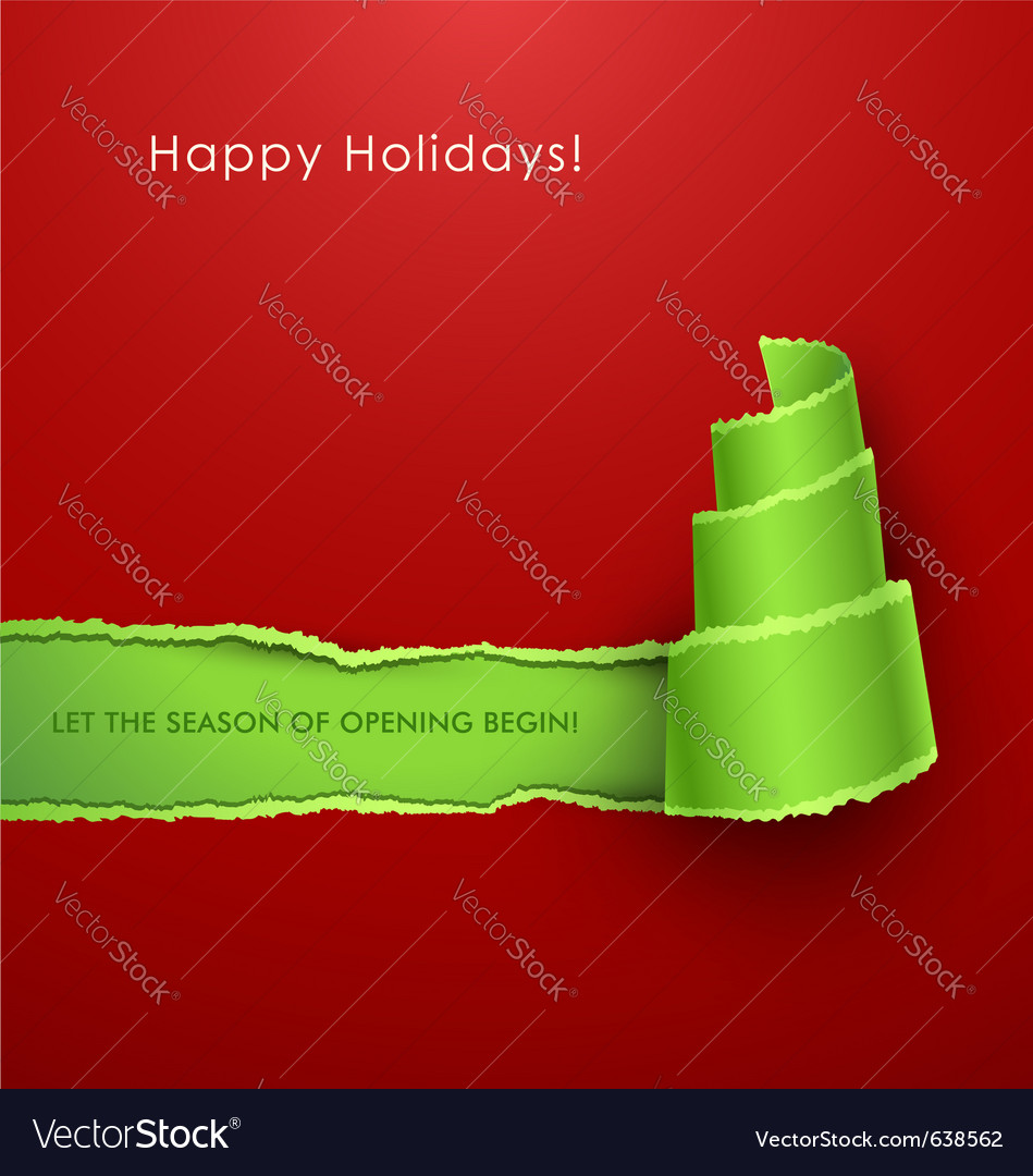 Christmas tree torn paper vector image