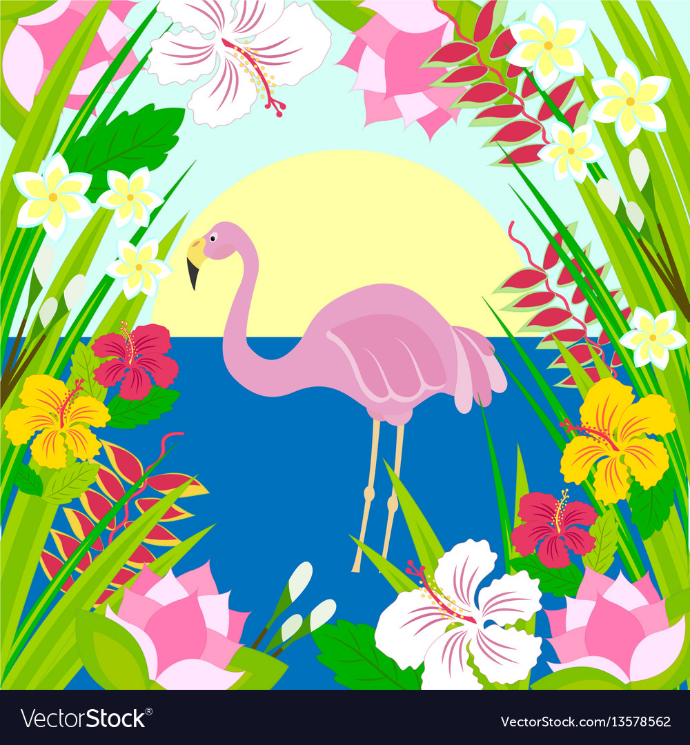 Flamingo in the sun sea and tropical flowers