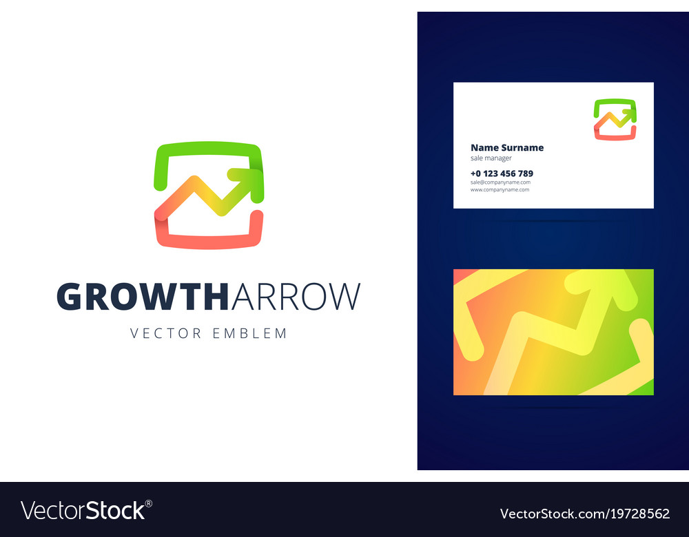 Growing chart logo and business card template
