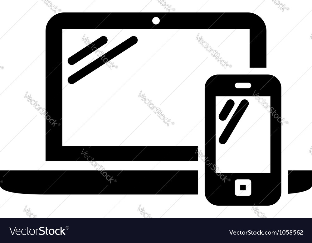 Laptop and mobile phone sign vector image