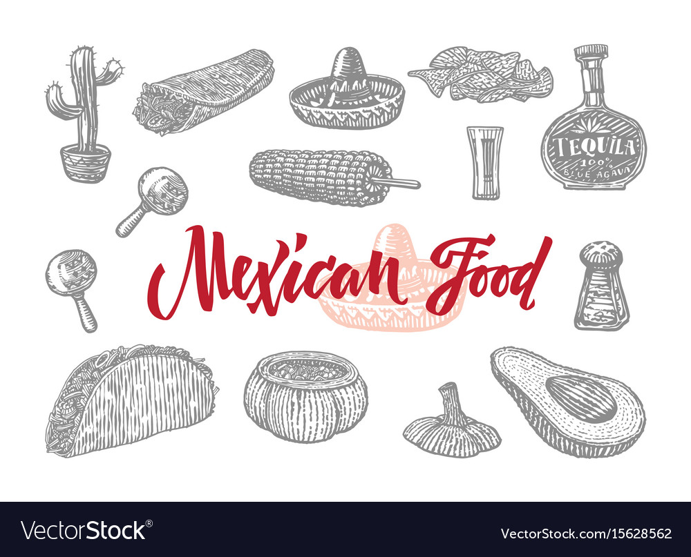 Mexican food engraved set