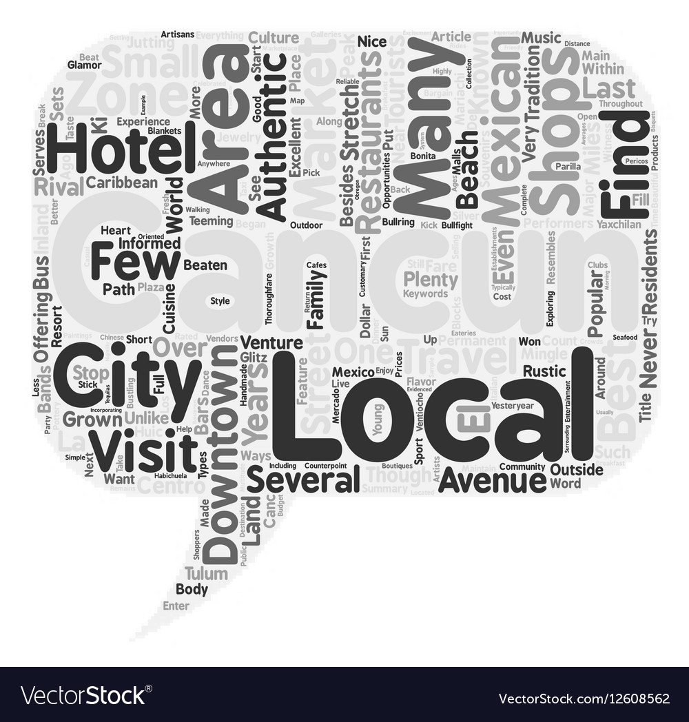 Off The Beaten Path In Downtown Cancun Text Vector Image