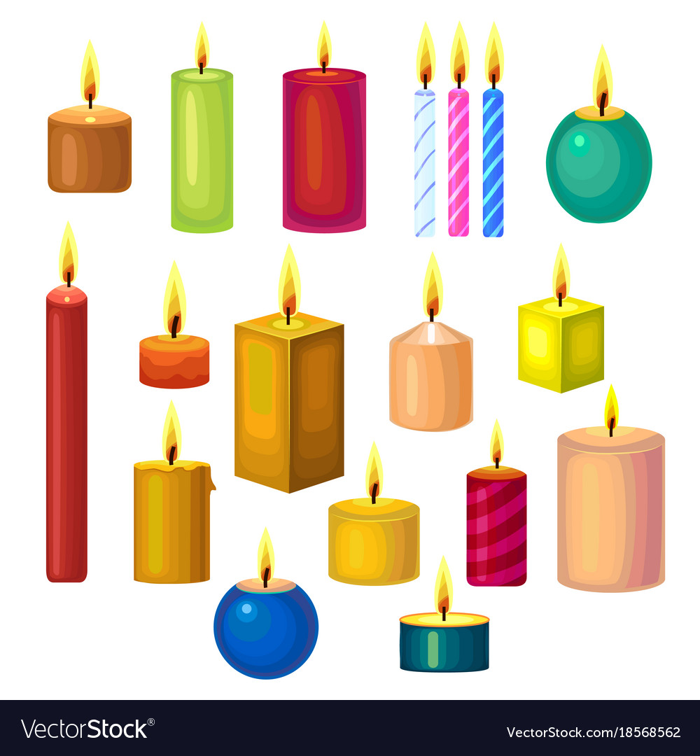 Set of different candles