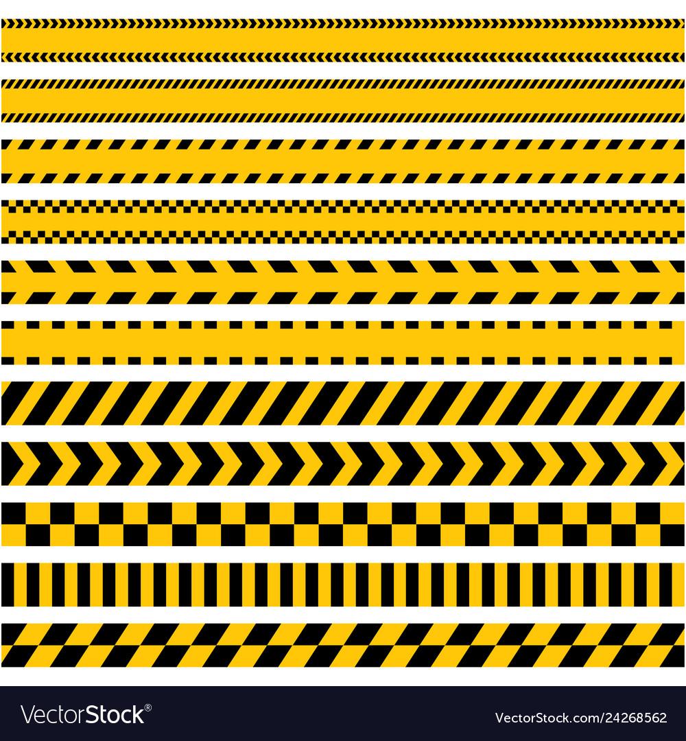 Set stripes yellow caution warning tape