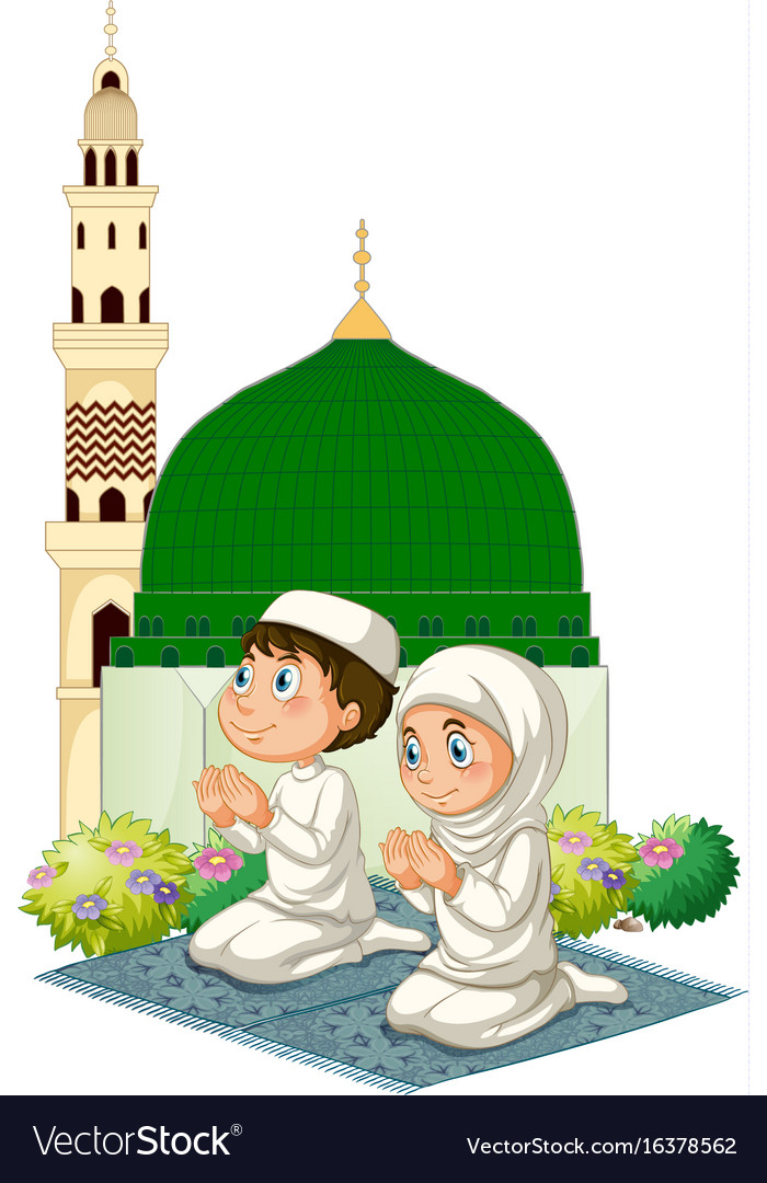 Two muslim kids praying at mosque Royalty Free Vector Image
