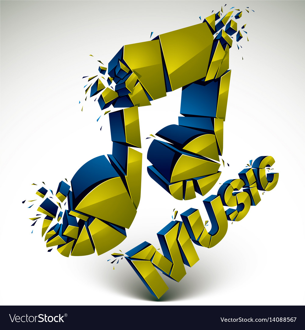 3d green demolished musical notes music word vector image