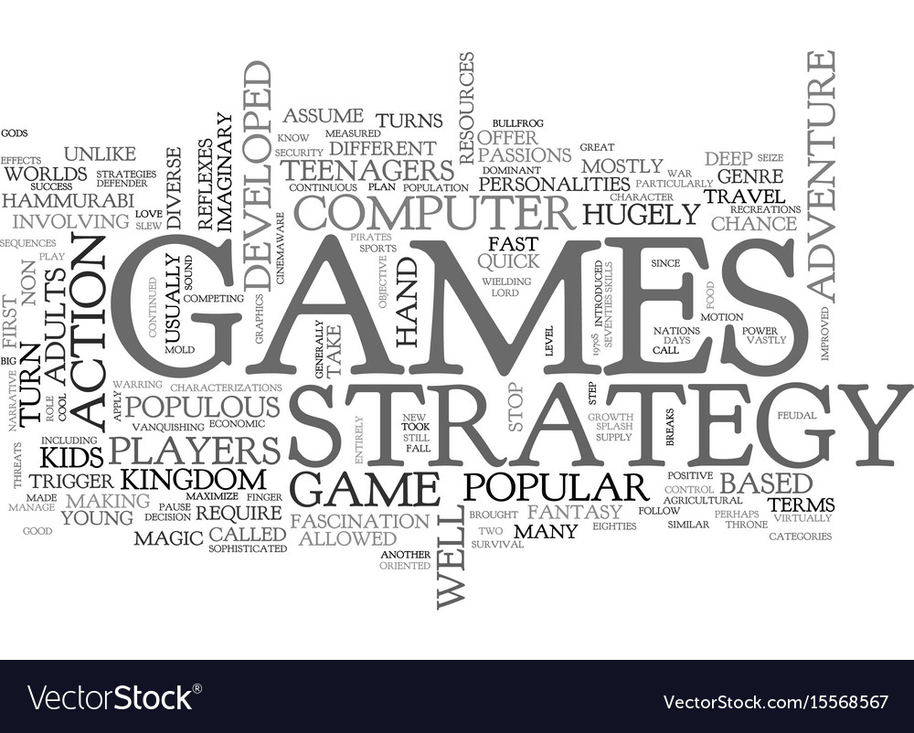 Adults love strategy games text word cloud concept