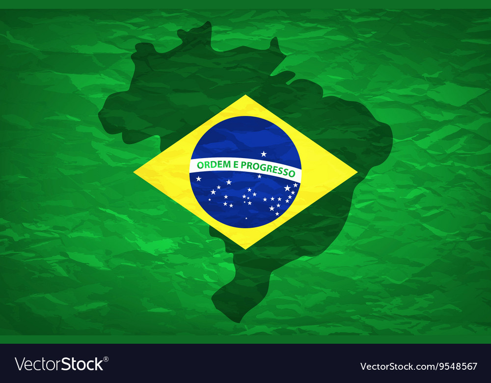 Brazil map An old grunge flag of Brazil state