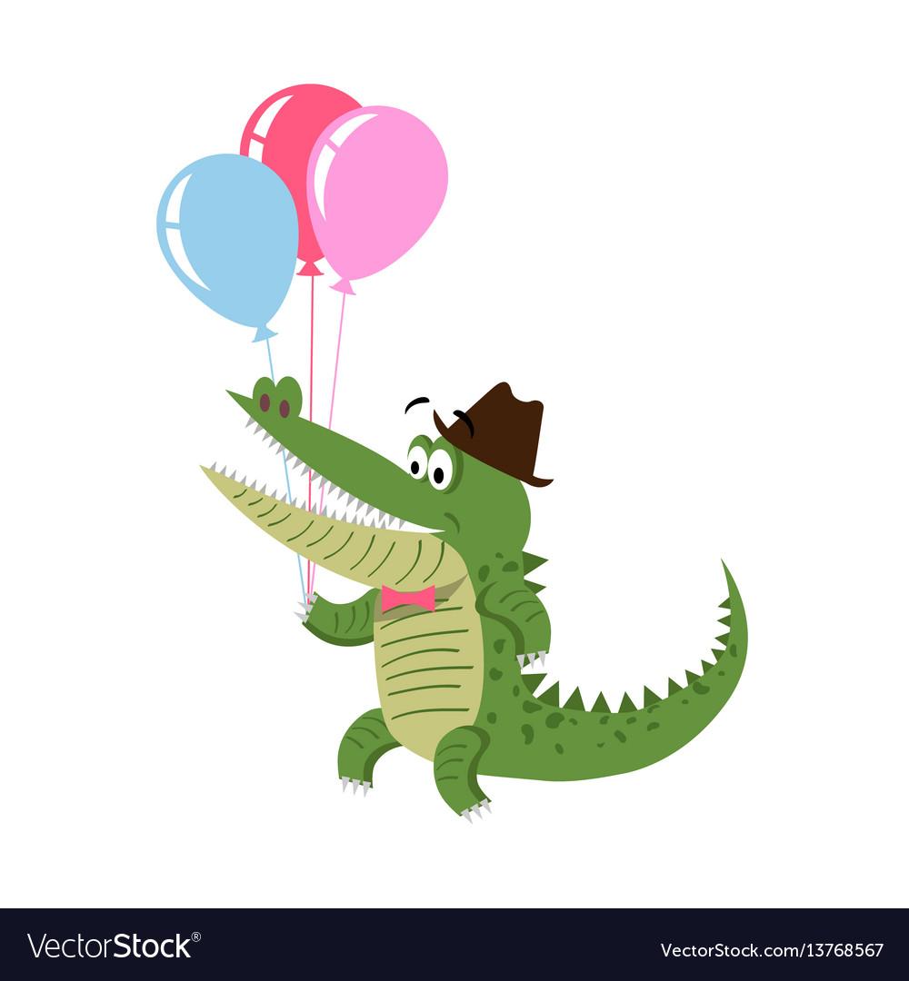 Cartoon crocodile with air balloon in hat isolated