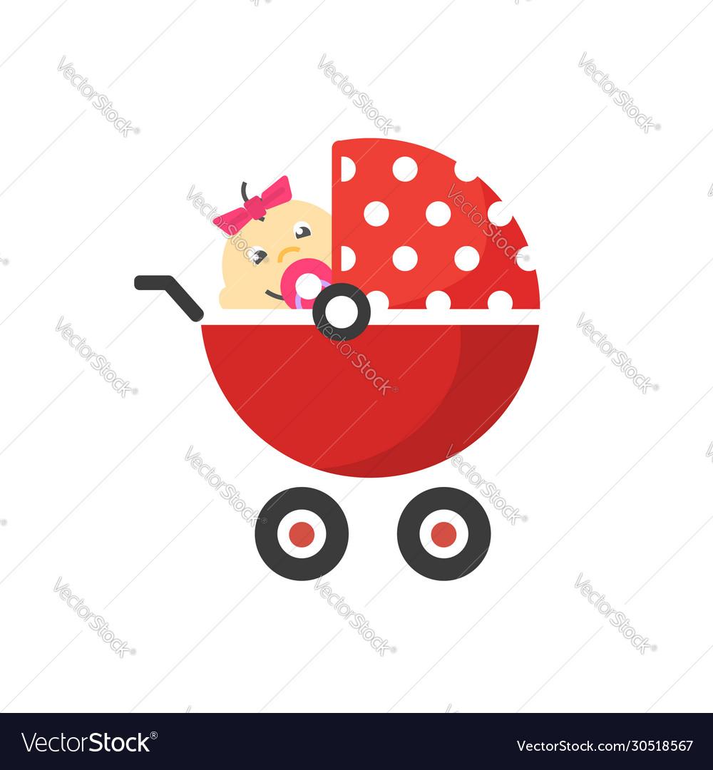 Child buggy or baby stroller pram icon