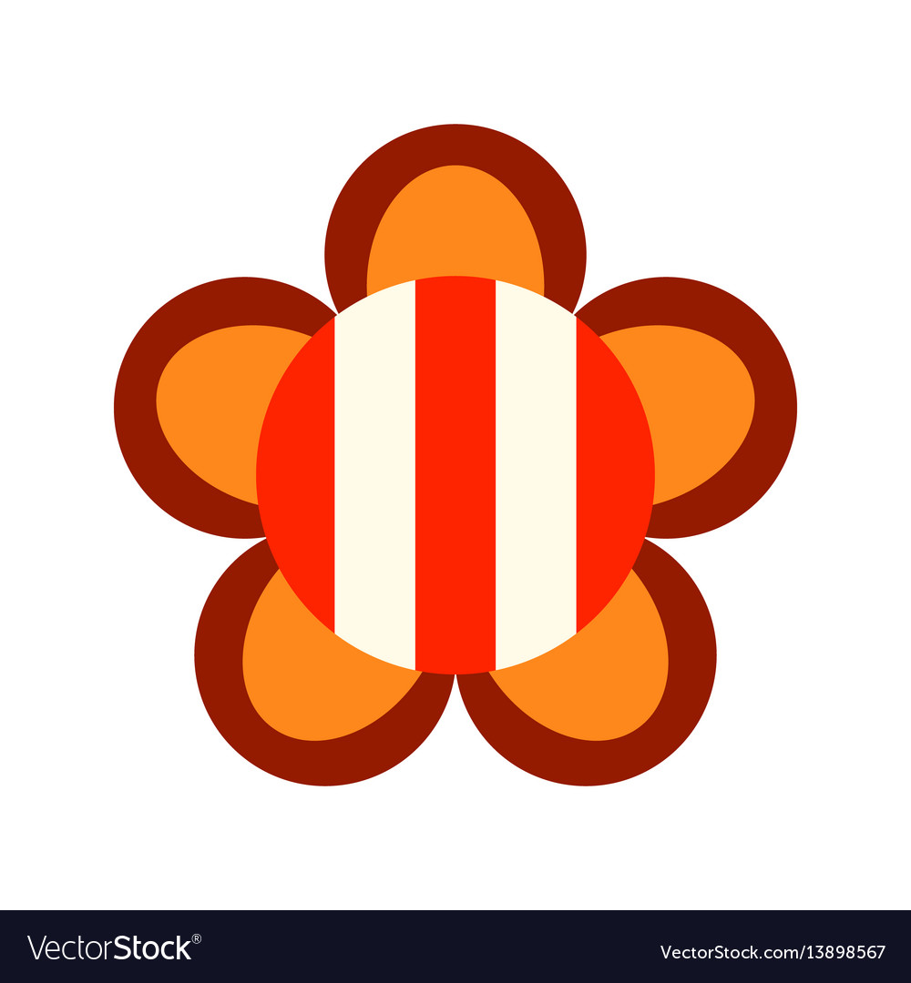 Decorative color flat icon of a flower on a white vector image