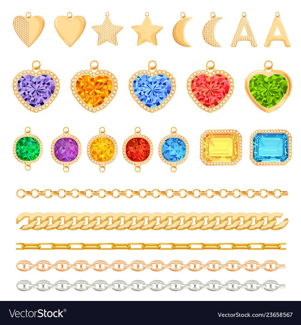 Golden chains precious gemstones diamonds set