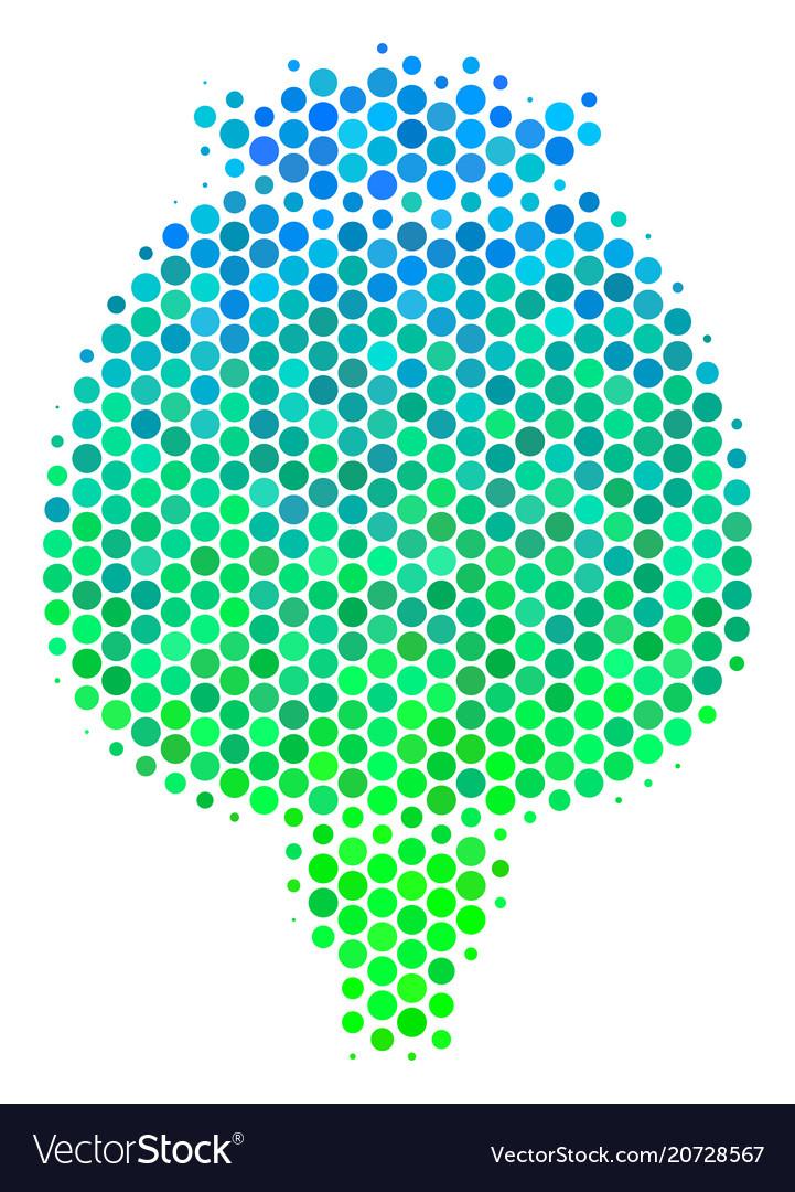 Halftone blue-green opium poppy icon