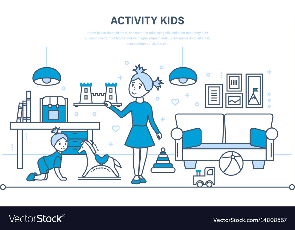 Hobbies activity entertainment kids games vector image