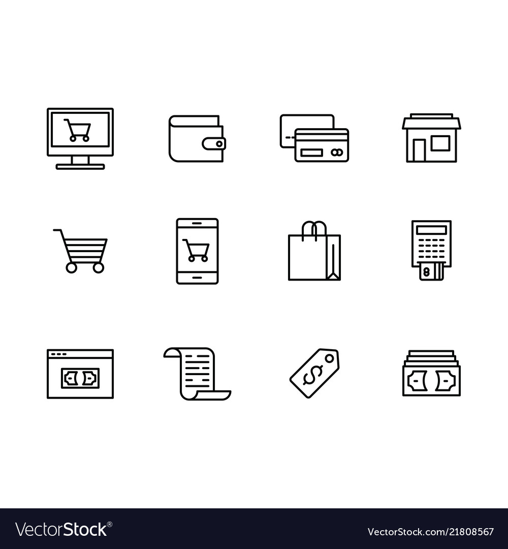 Icon set internet and mobile shopping