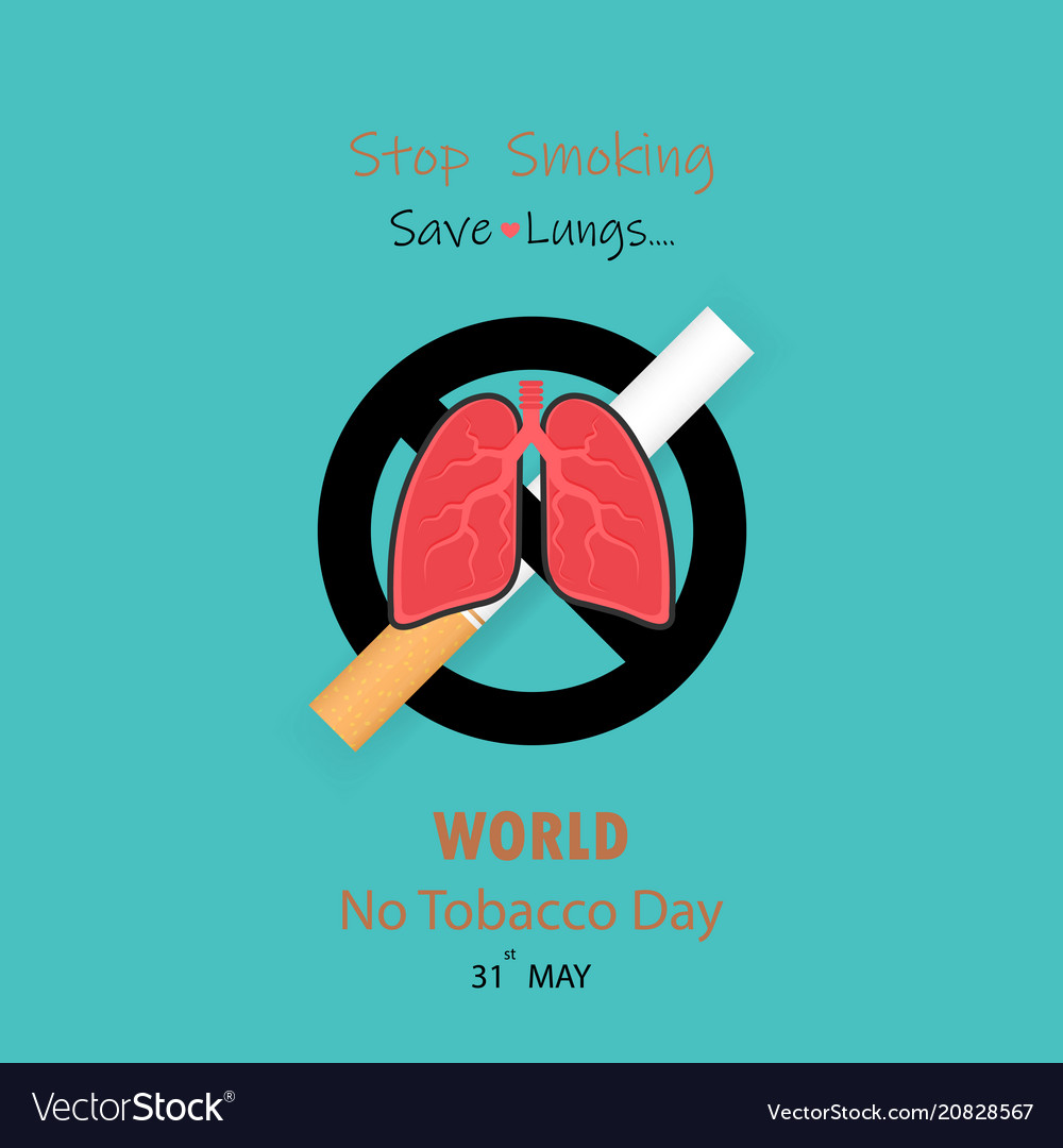 Lungs icon and cigarettequit tobacco logo design