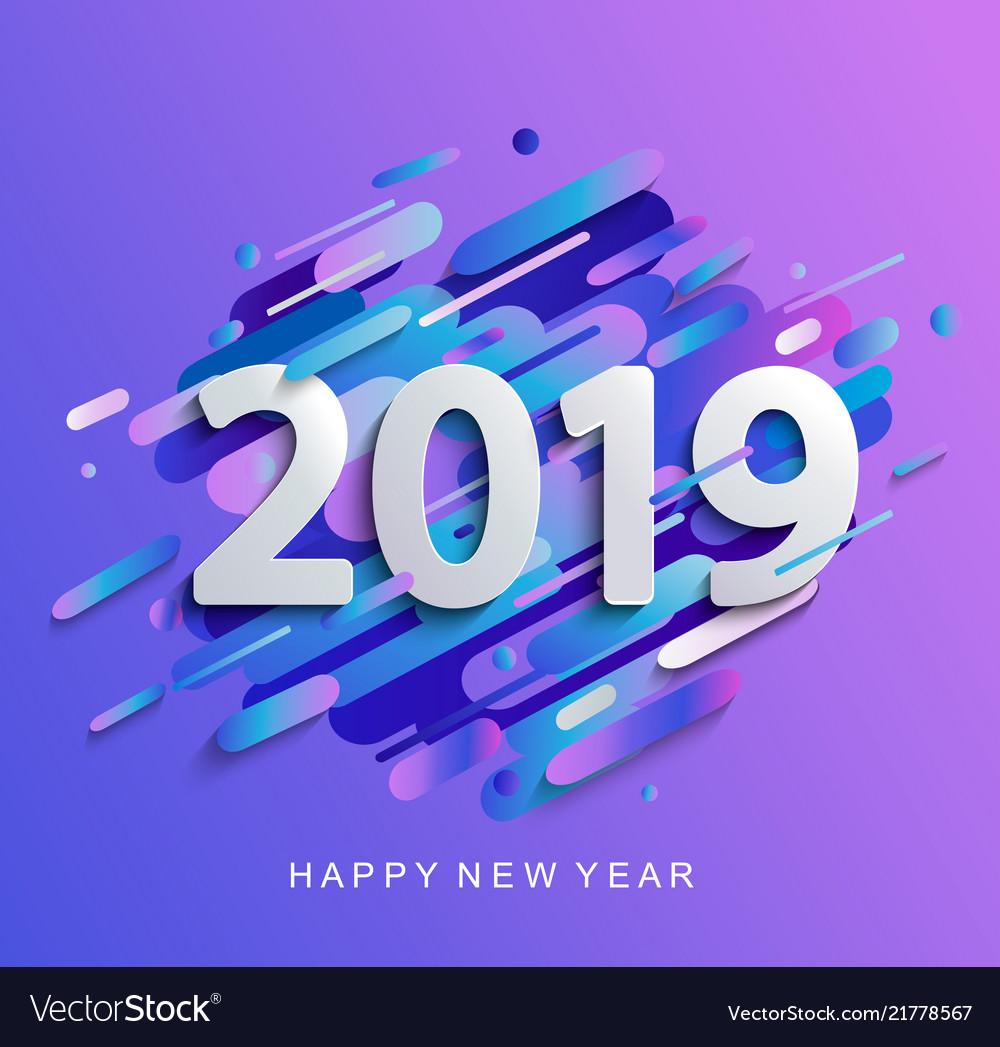 New year 2019 on modern gradient motion background