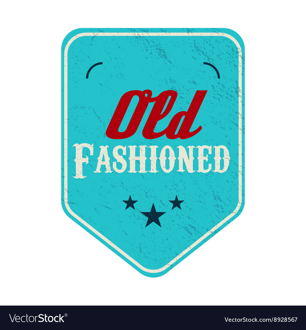 Old fashioned blue pennant label vintage style