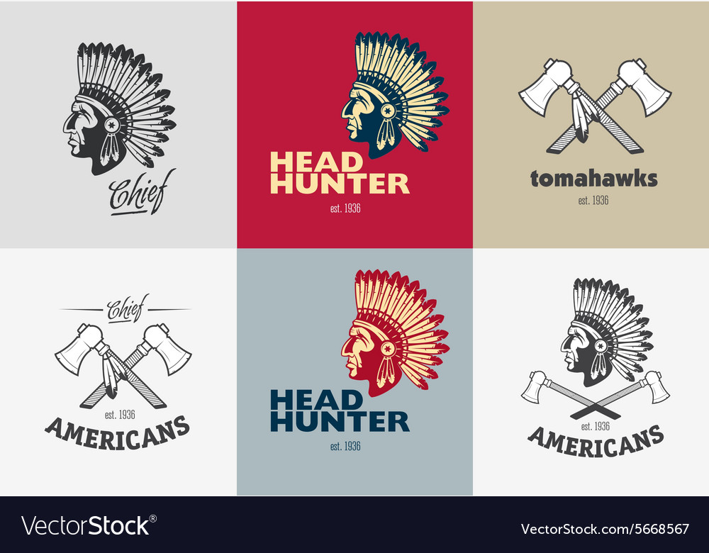 Set of american indian badges
