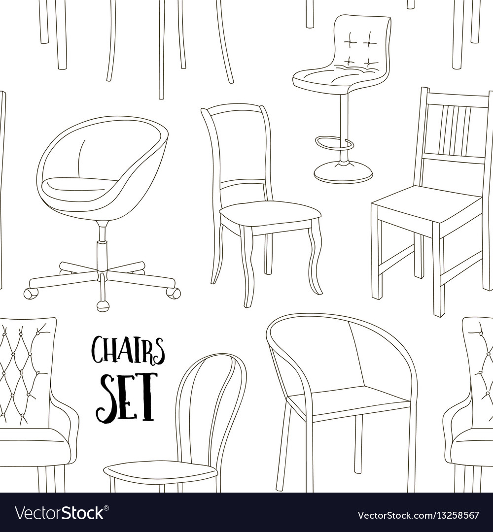 Set of chairs pattern vector image