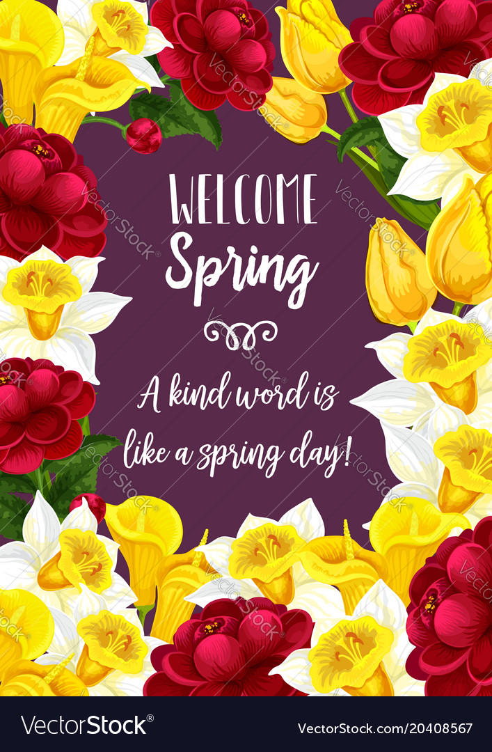 Spring time blooming flowers greeting card vector image mightylinksfo