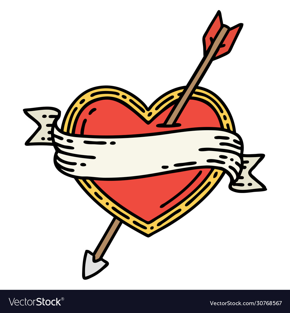 Traditional Tattoo An Arrow Heart And Banner Vector Image
