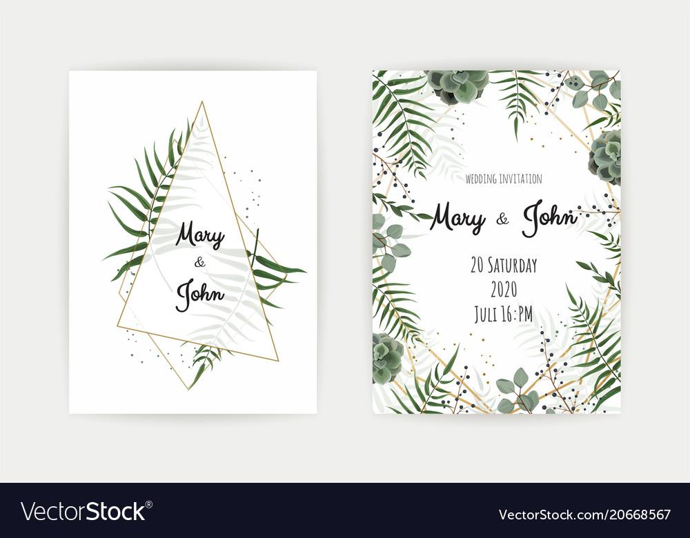 Wedding Invitation With Green Leaf Eucalyptus Vector Image