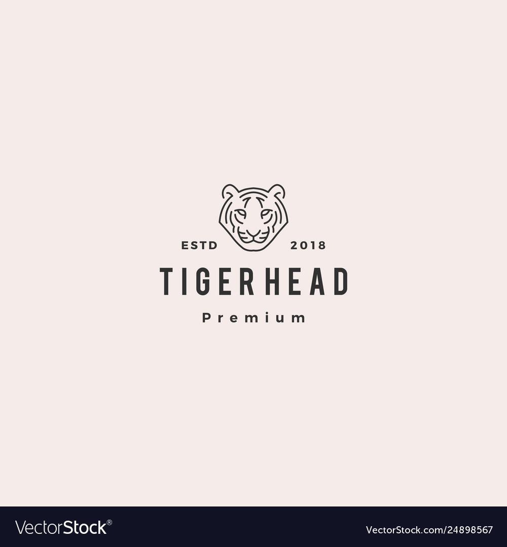 White tiger head logo icon line outline monoline