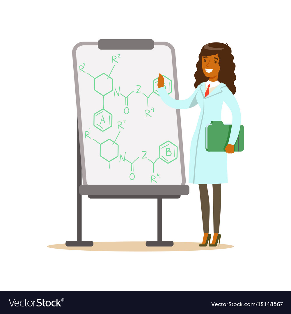 Woman scientist stands next to whiteboard with