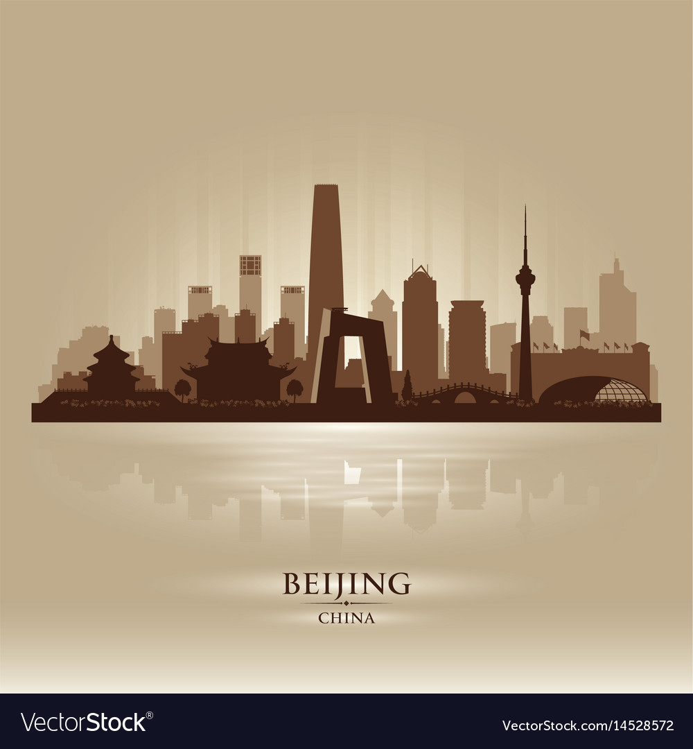 Beijing china city skyline silhouette
