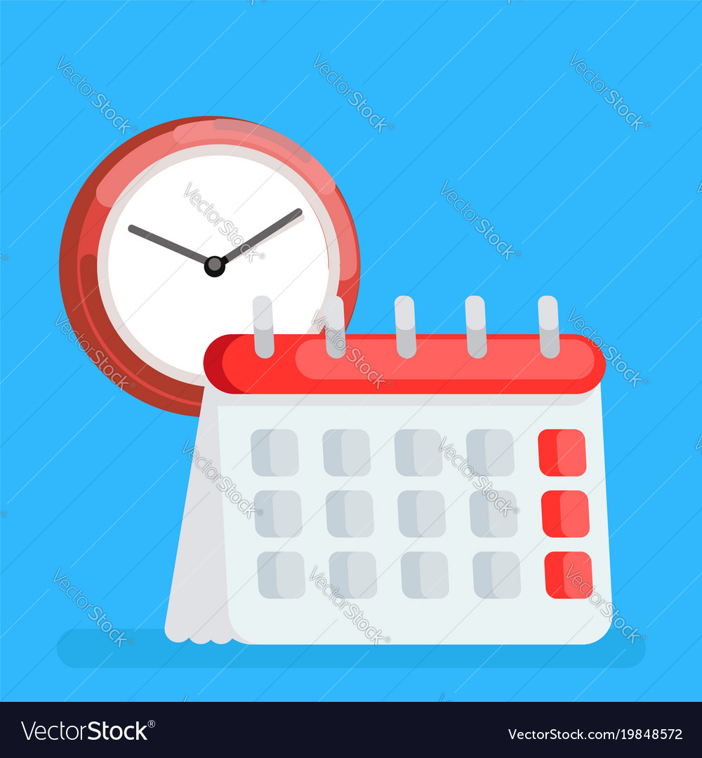 Calendar icon with clock time planning managment vector image
