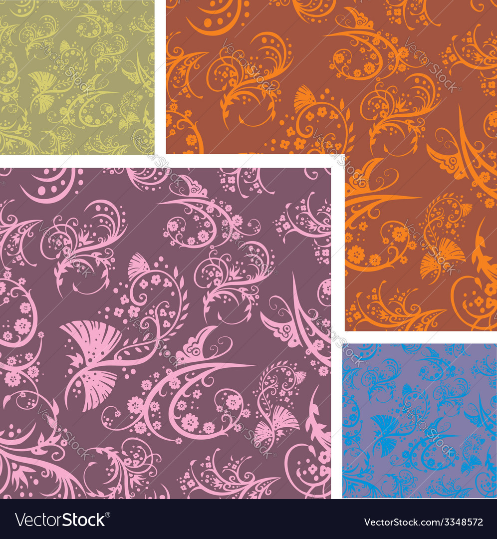 Chinese Floral Seamless Pattern Set Royalty Free Vector