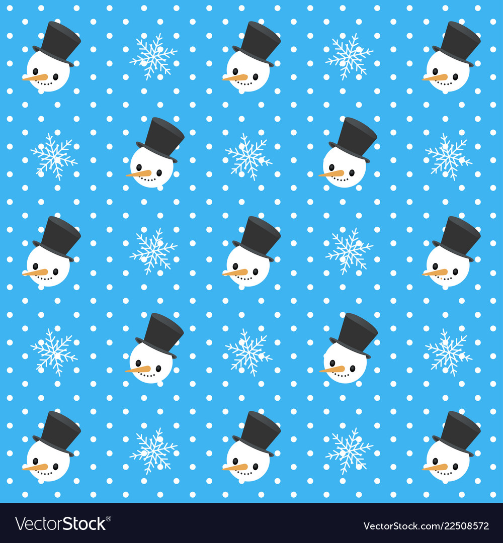 Christmas seamless pattern snowman and snowflakes