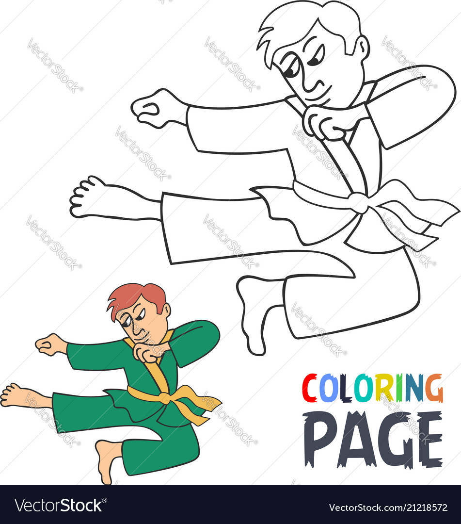 Coloring page with karate martial art player