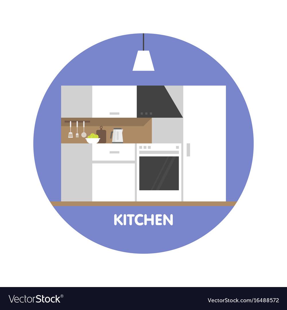 Modern Kitchen Interior Design Icon Royalty Free Vector