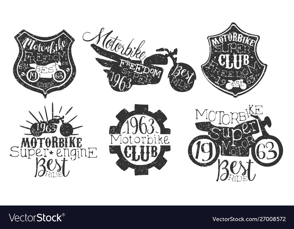 Motorbike club retro labels set super motor best