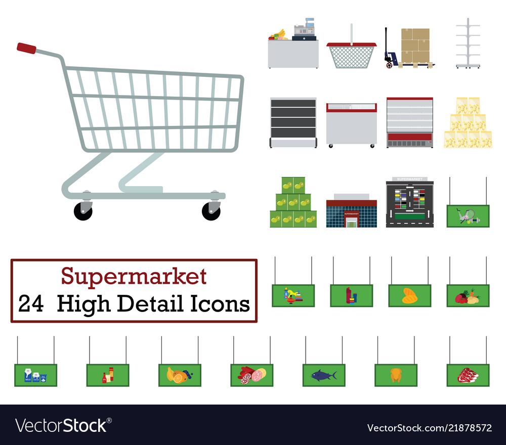 Set of 24 supermarket icons