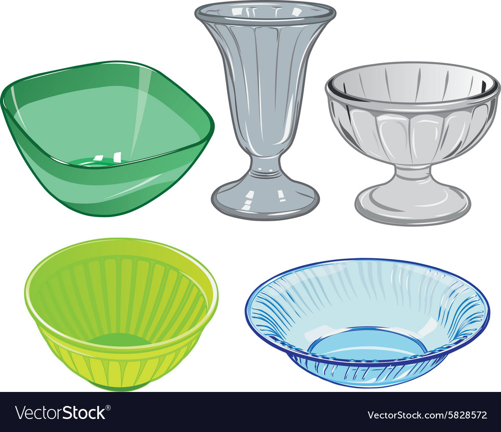 Set of glassware and glass vase and plastic salad