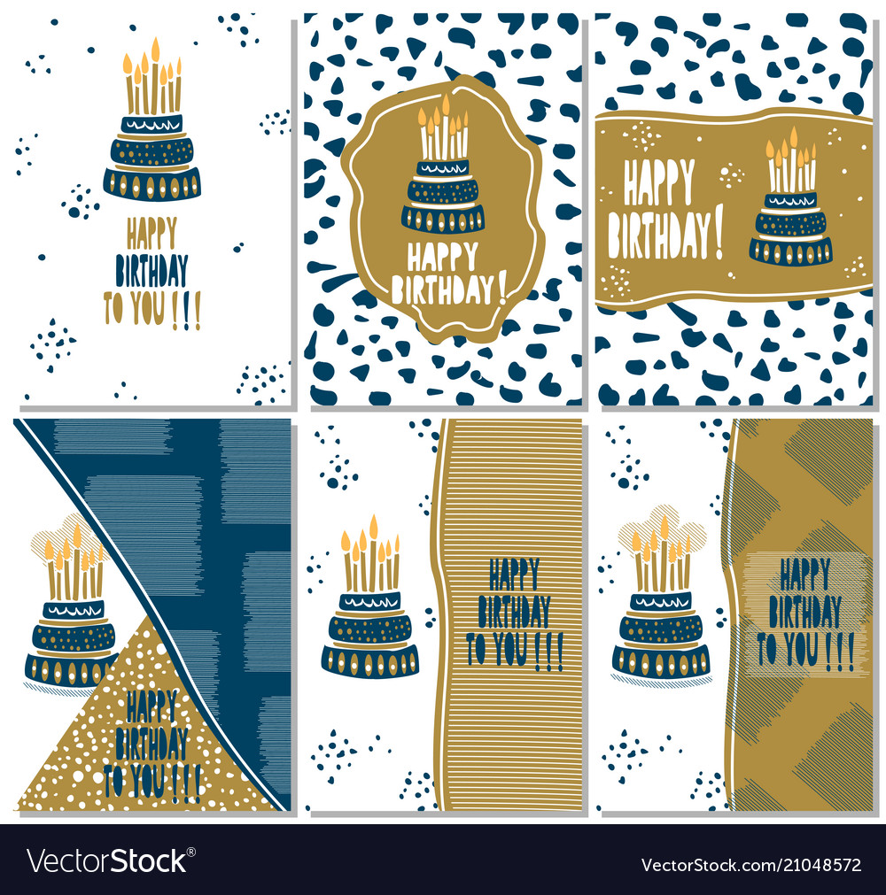 Set Of Modern Happy Birthday Greeting Cards Design Vector Image