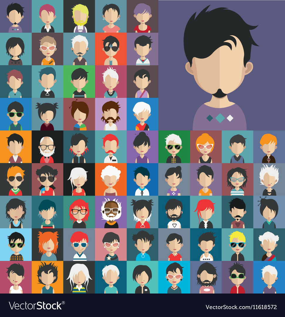 Set of people icons in flat style with faces 20 a