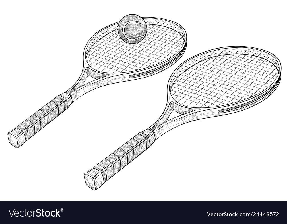 Tennis rackets hand drawn sketch