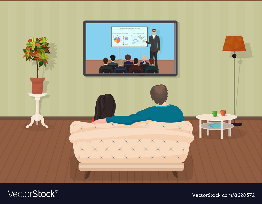 Young family man and women watching TV training