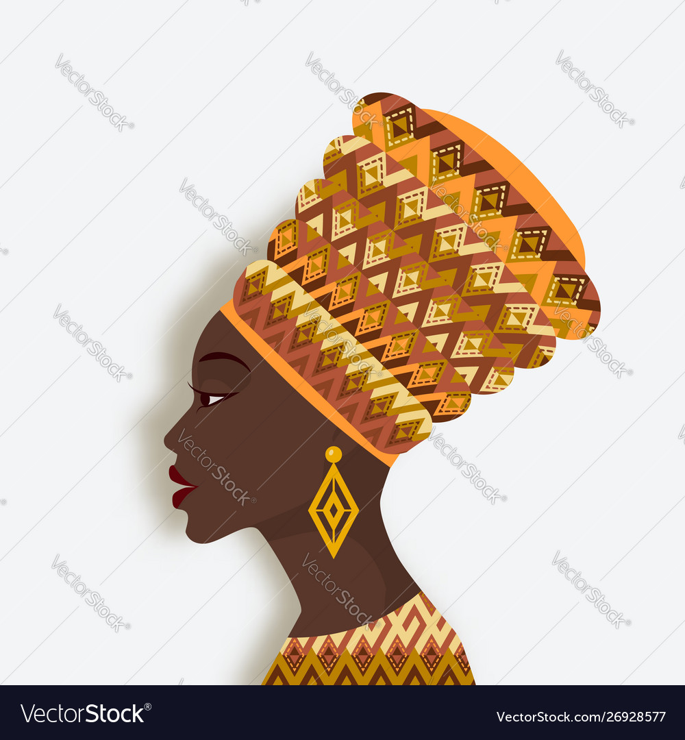 African woman in turban and earrings in profile
