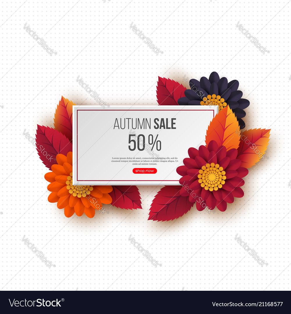 Autumn sale rectangular banner with 3d leaves